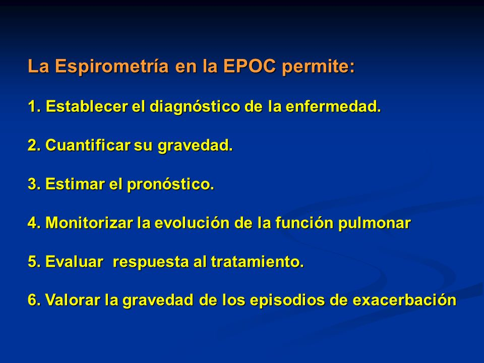 La Espirometría en la EPOC permite: