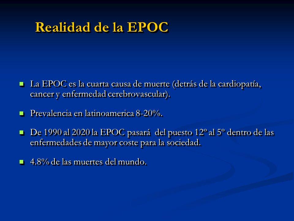 Realidad de la EPOCLa EPOC es la cuarta causa de muerte (detrás de la cardiopatía, cancer y enfermedad cerebrovascular).