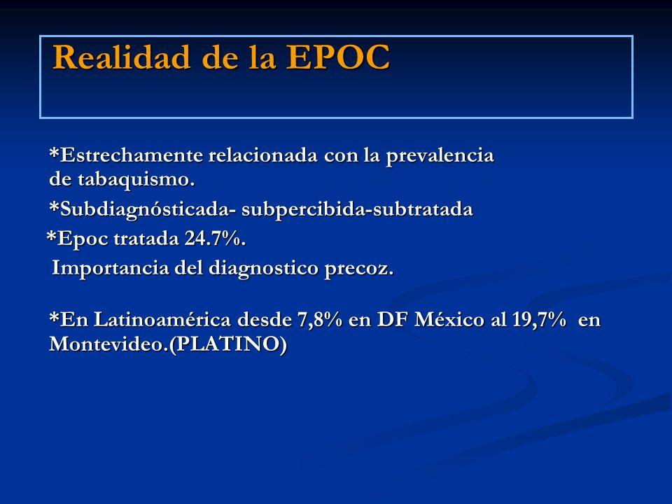 Realidad de la EPOC*Estrechamente relacionada con la prevalencia de tabaquismo. *Subdiagnósticada- subpercibida-subtratada.