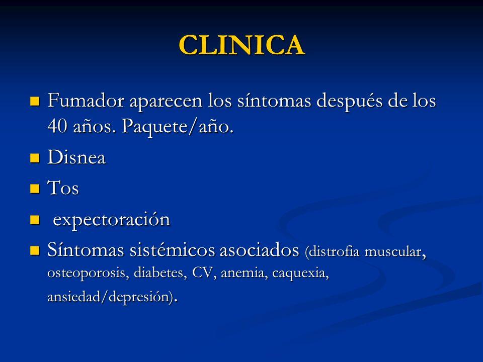 CLINICA Fumador aparecen los síntomas después de los 40 años. Paquete/año. Disnea. Tos. expectoración.
