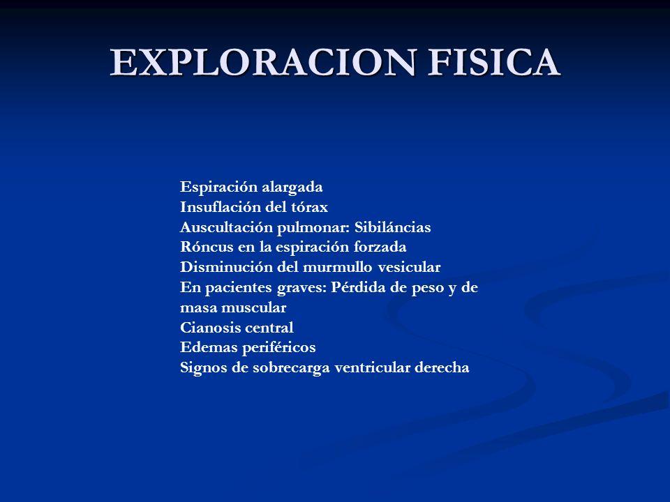 EXPLORACION FISICA Espiración alargada Insuflación del tórax
