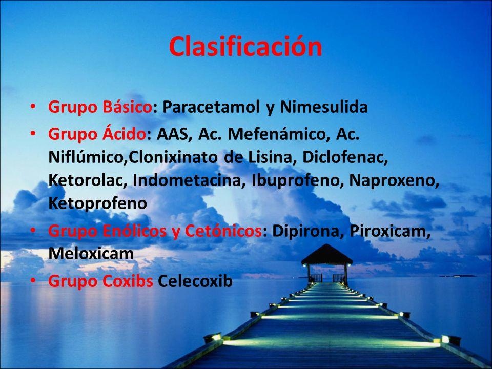 Clasificación Grupo Básico: Paracetamol y Nimesulida