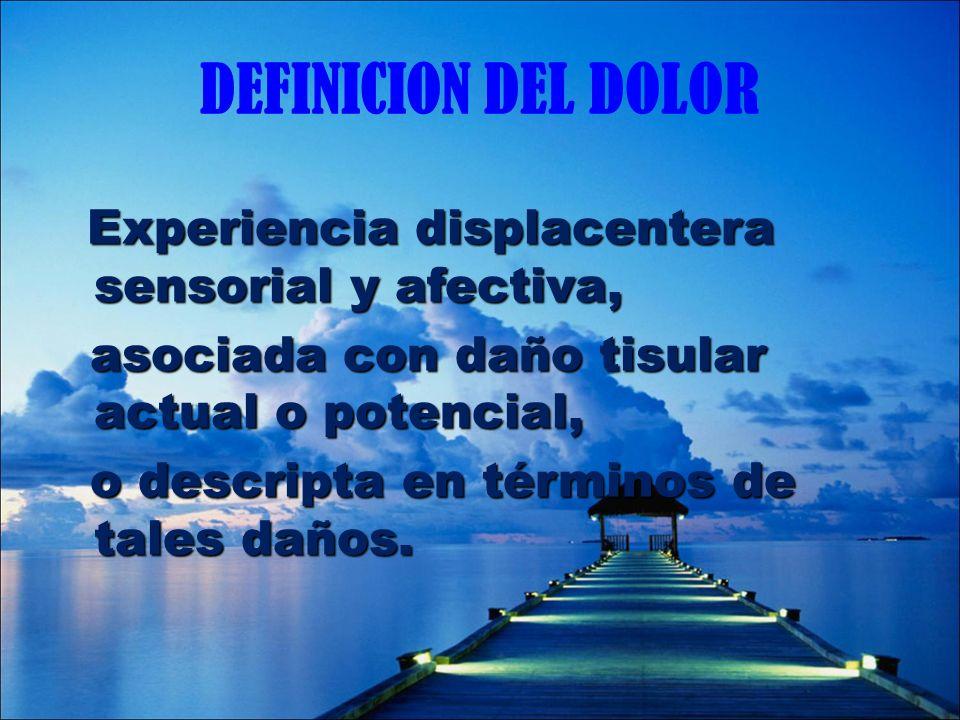 DEFINICION DEL DOLOR asociada con daño tisular actual o potencial,