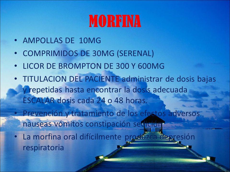 MORFINA AMPOLLAS DE 10MG COMPRIMIDOS DE 30MG (SERENAL)