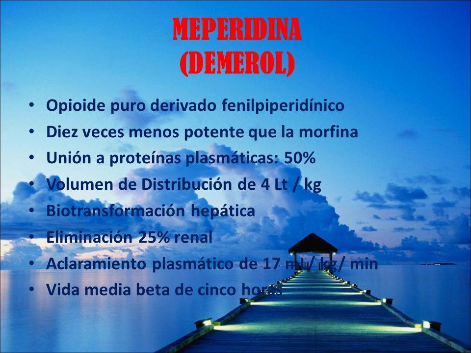 MEPERIDINA (DEMEROL) Opioide puro derivado fenilpiperidínico