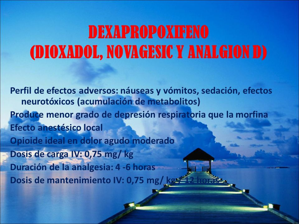 DEXAPROPOXIFENO (DIOXADOL, NOVAGESIC Y ANALGION D)