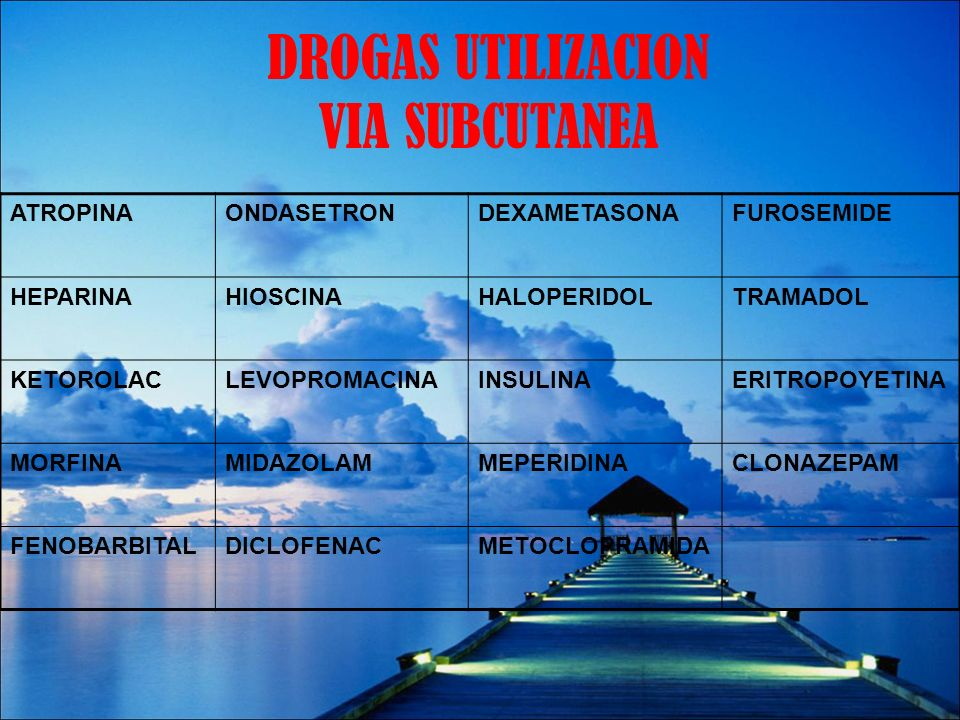 DROGAS UTILIZACION VIA SUBCUTANEA