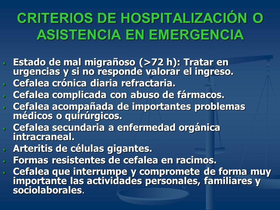 CRITERIOS DE HOSPITALIZACIÓN O ASISTENCIA EN EMERGENCIA