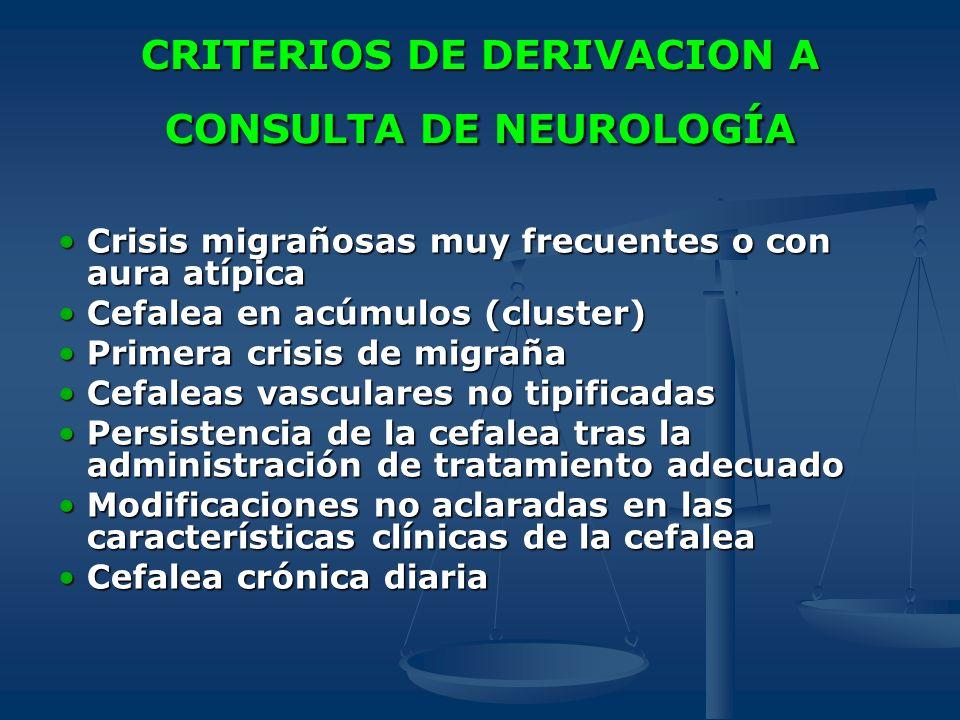 CRITERIOS DE DERIVACION A CONSULTA DE NEUROLOGÍA