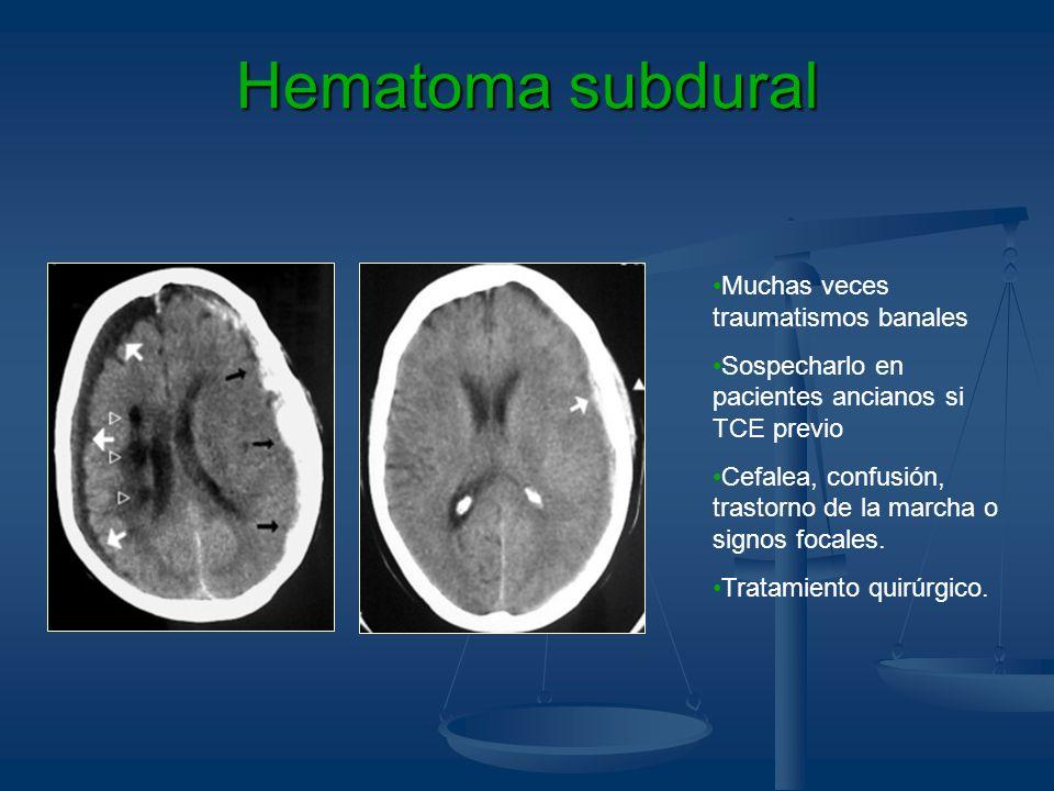 Hematoma subdural Muchas veces traumatismos banales