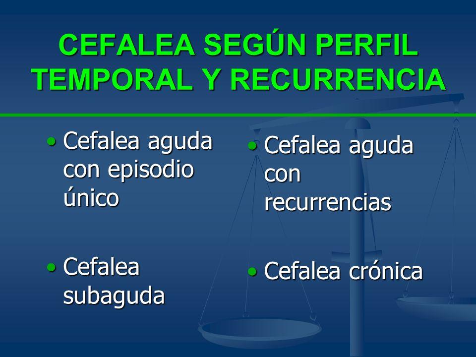 CEFALEA SEGÚN PERFIL TEMPORAL Y RECURRENCIA