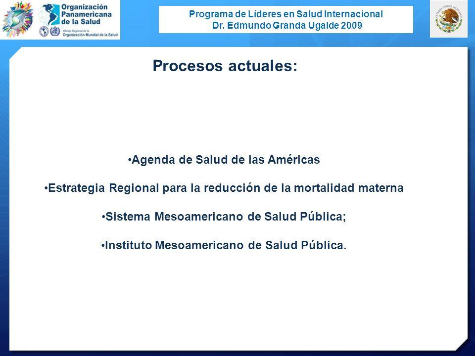 Procesos actuales: Agenda de Salud de las Américas