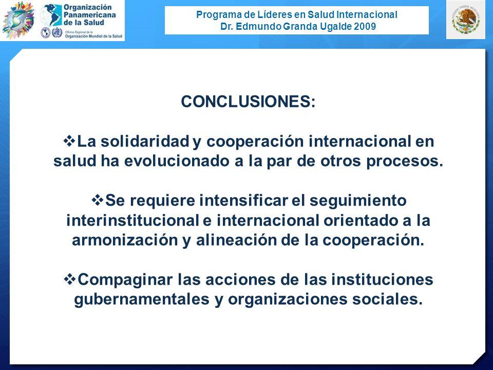 CONCLUSIONES: La solidaridad y cooperación internacional en salud ha evolucionado a la par de otros procesos.