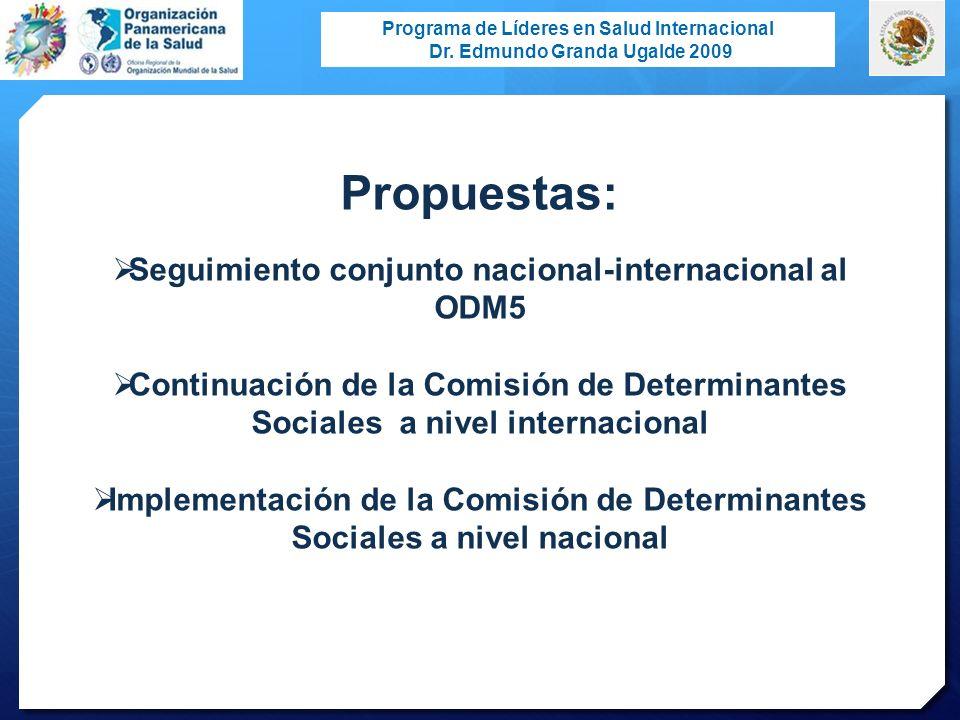 Seguimiento conjunto nacional-internacional al ODM5
