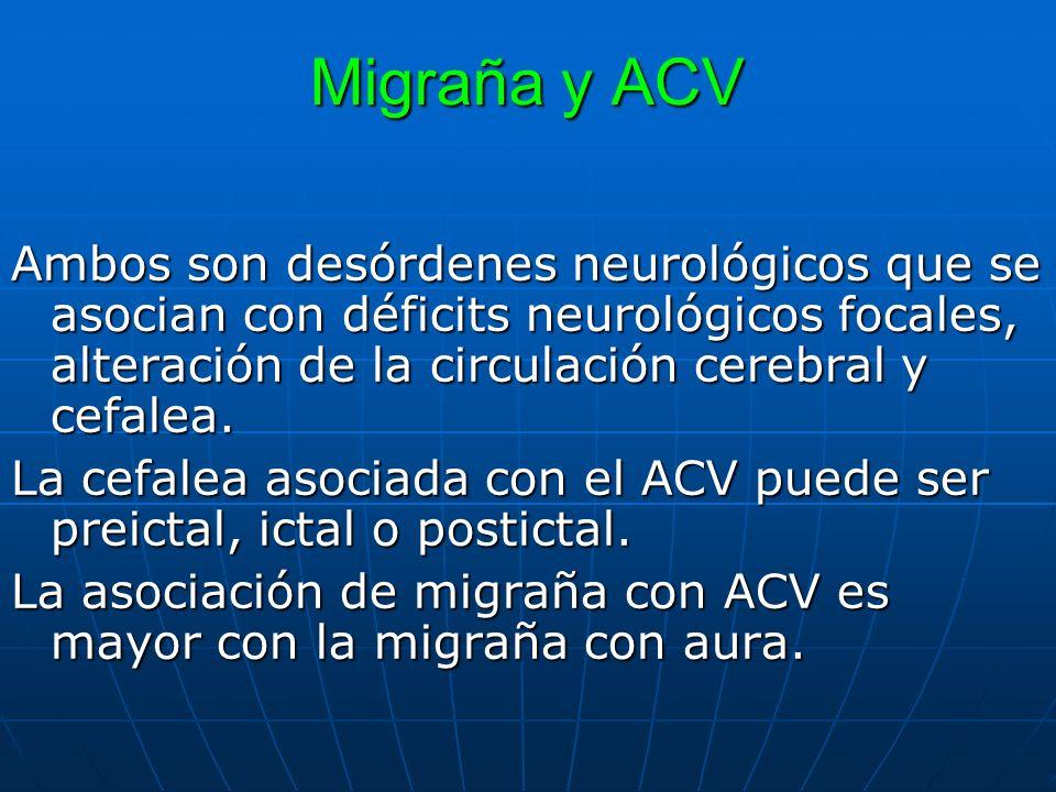 Migraña y ACV Ambos son desórdenes neurológicos que se asocian con déficits neurológicos focales, alteración de la circulación cerebral y cefalea.