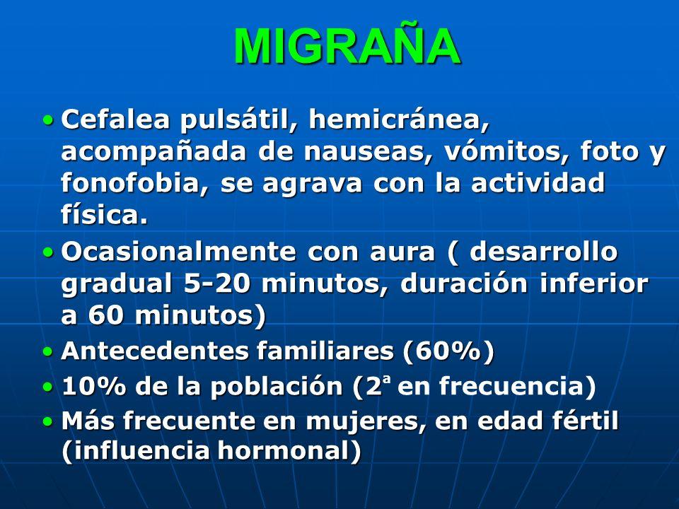 MIGRAÑA Cefalea pulsátil, hemicránea, acompañada de nauseas, vómitos, foto y fonofobia, se agrava con la actividad física.