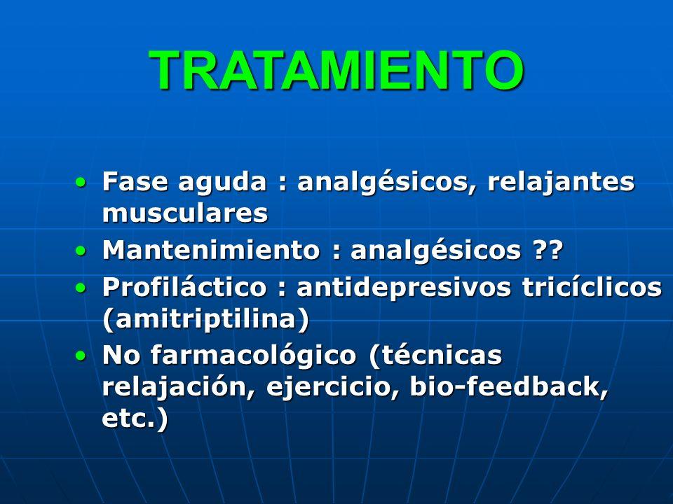 TRATAMIENTO Fase aguda : analgésicos, relajantes musculares
