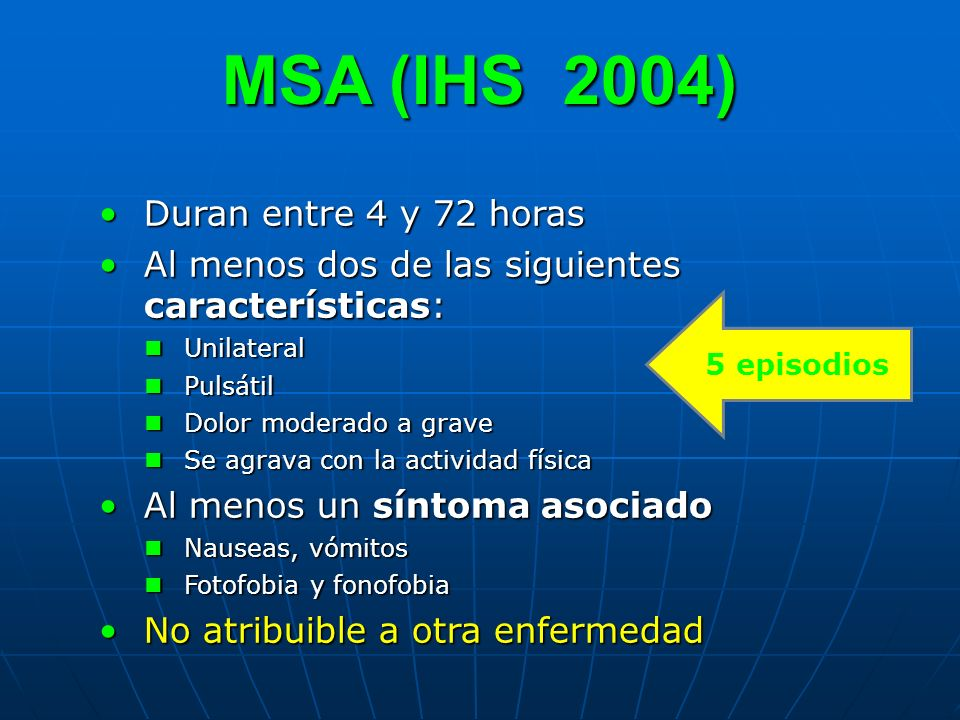 MSA (IHS 2004) Duran entre 4 y 72 horas