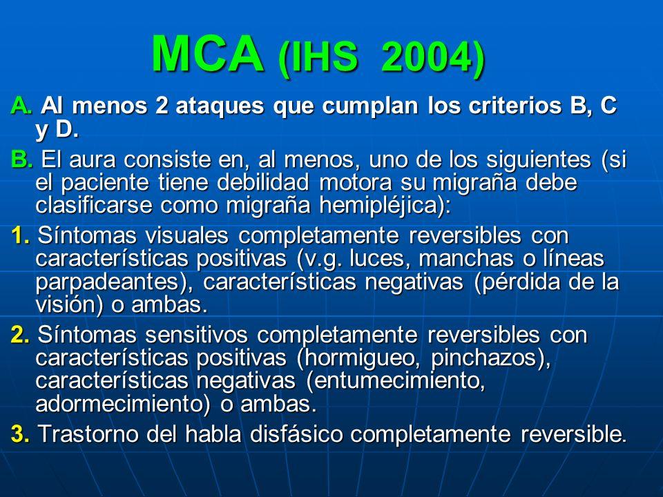 MCA (IHS 2004) A. Al menos 2 ataques que cumplan los criterios B, C y D.