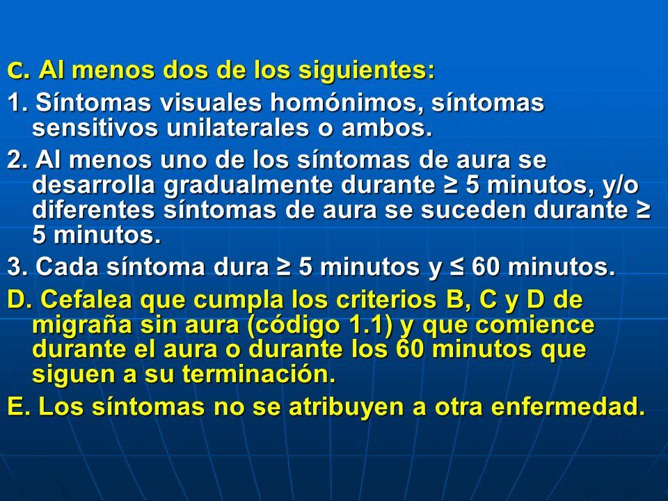 3. Cada síntoma dura ≥ 5 minutos y ≤ 60 minutos.