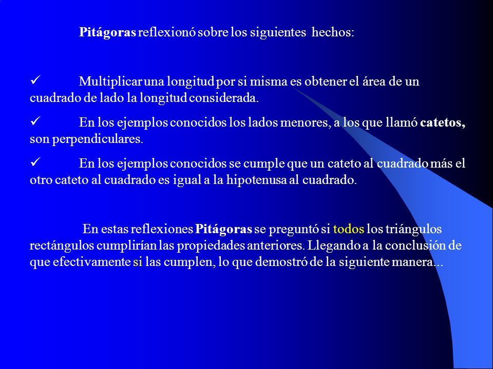 Pitágoras reflexionó sobre los siguientes hechos: