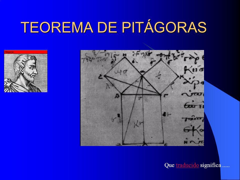 TEOREMA DE PITÁGORAS Que traducido significa ..... CURSO 2007-2008
