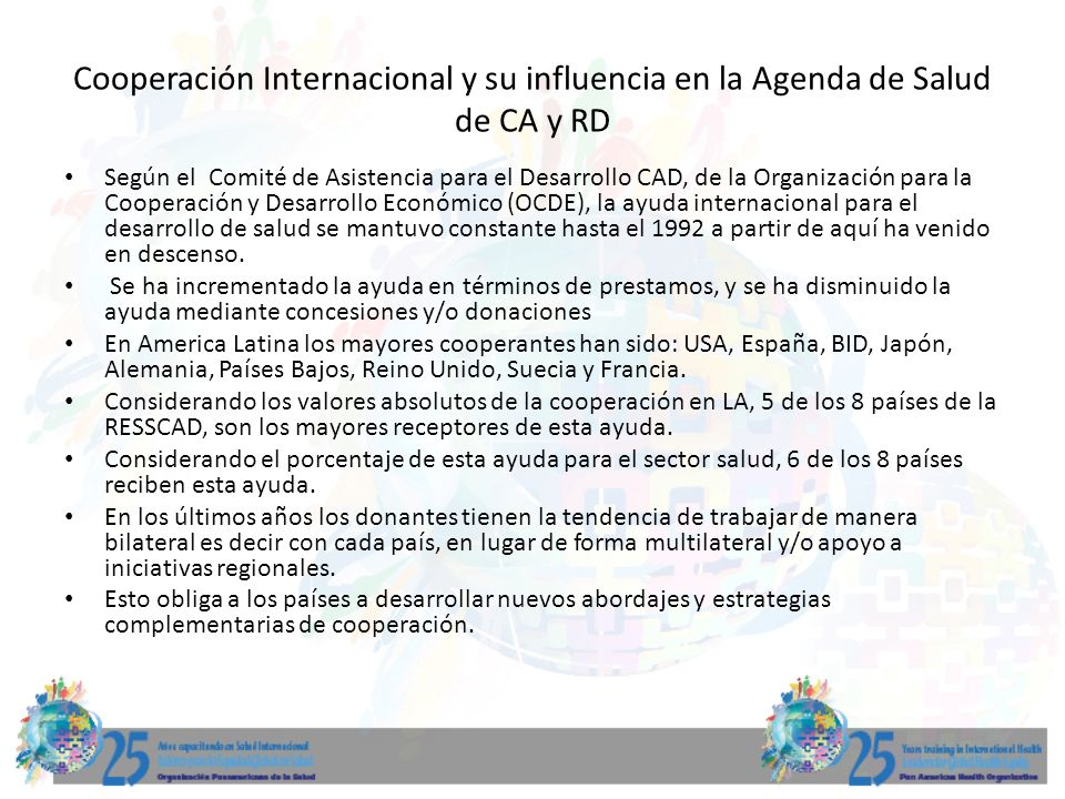 Cooperación Internacional y su influencia en la Agenda de Salud de CA y RD
