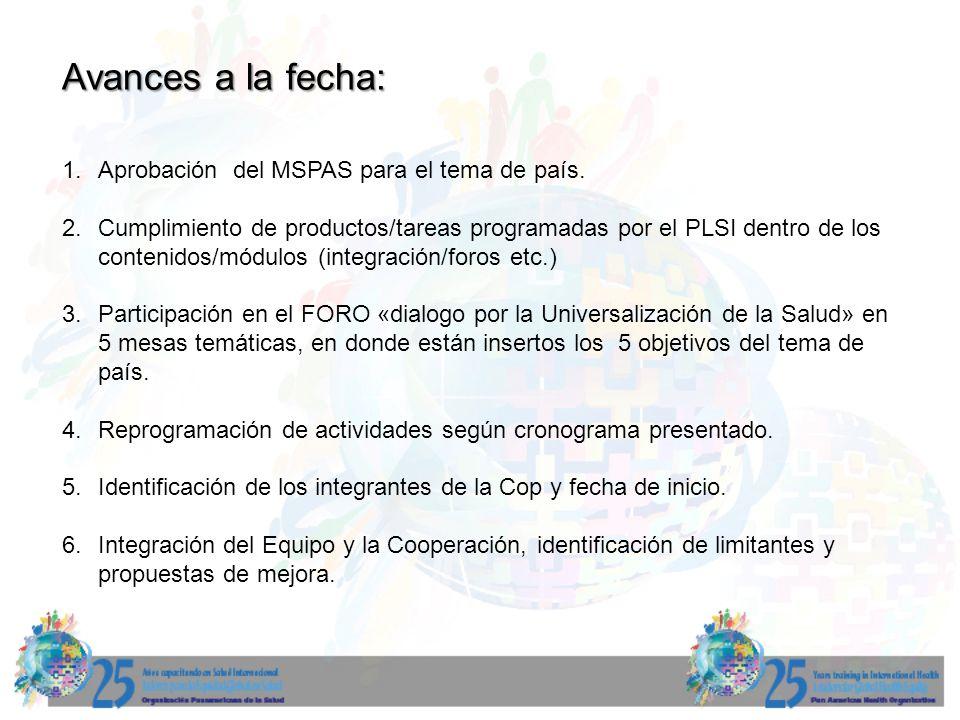 Avances a la fecha: Aprobación del MSPAS para el tema de país.