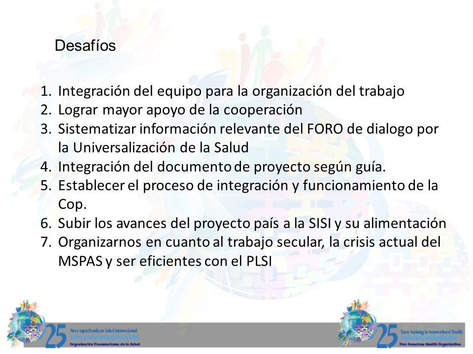 Desafíos Integración del equipo para la organización del trabajo. Lograr mayor apoyo de la cooperación.
