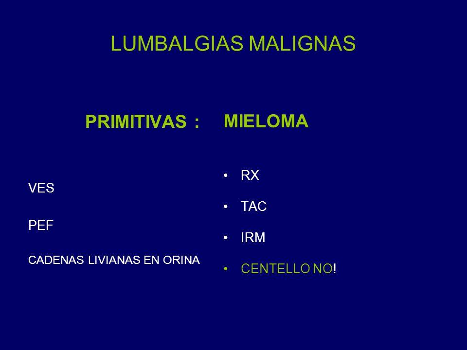 LUMBALGIAS MALIGNAS PRIMITIVAS : MIELOMA RX VES TAC PEF IRM