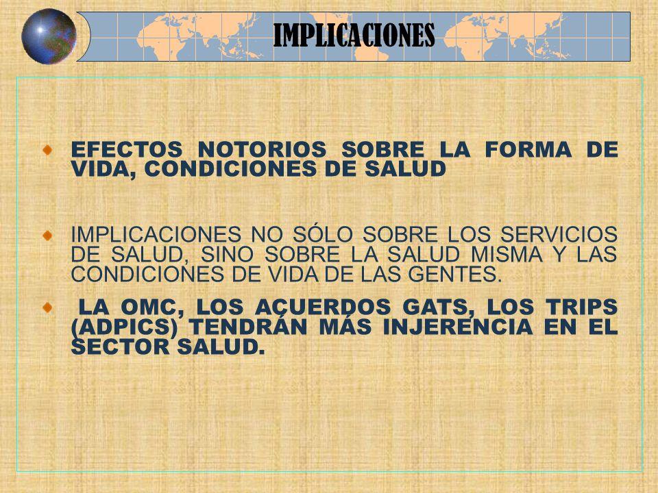 IMPLICACIONES EFECTOS NOTORIOS SOBRE LA FORMA DE VIDA, CONDICIONES DE SALUD.