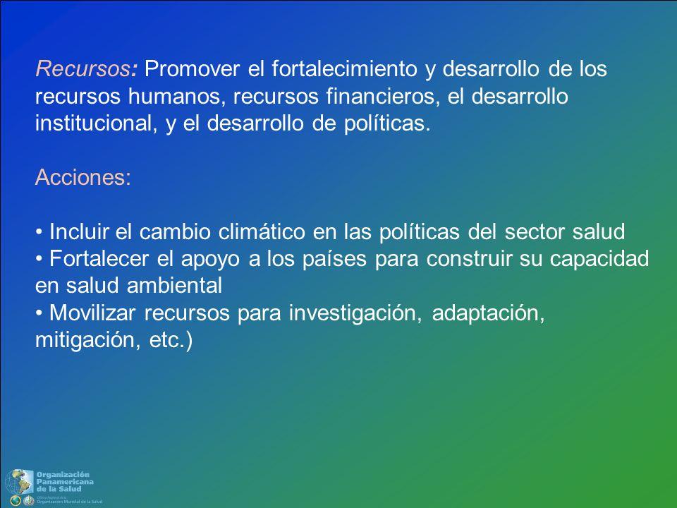 Recursos: Promover el fortalecimiento y desarrollo de los recursos humanos, recursos financieros, el desarrollo institucional, y el desarrollo de políticas.
