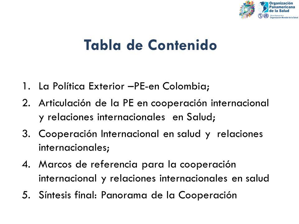 Tabla de Contenido La Política Exterior –PE-en Colombia;