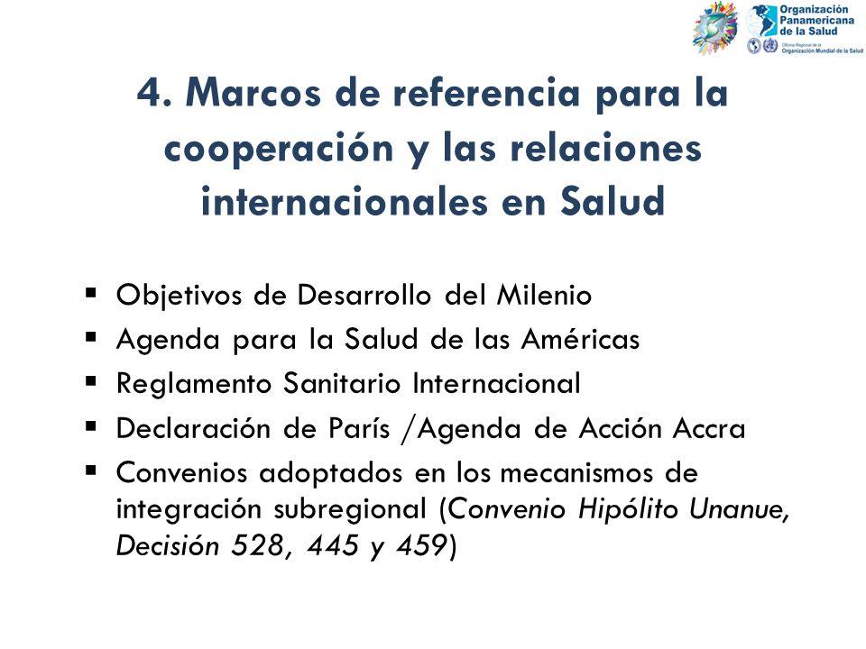4. Marcos de referencia para la cooperación y las relaciones internacionales en Salud