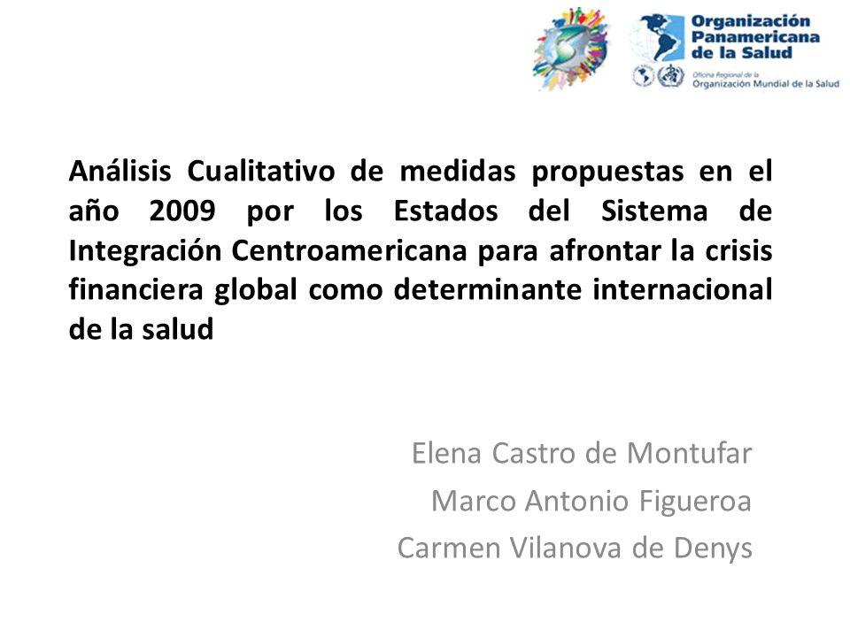 Análisis Cualitativo de medidas propuestas en el año 2009 por los Estados del Sistema de Integración Centroamericana para afrontar la crisis financiera global como determinante internacional de la salud