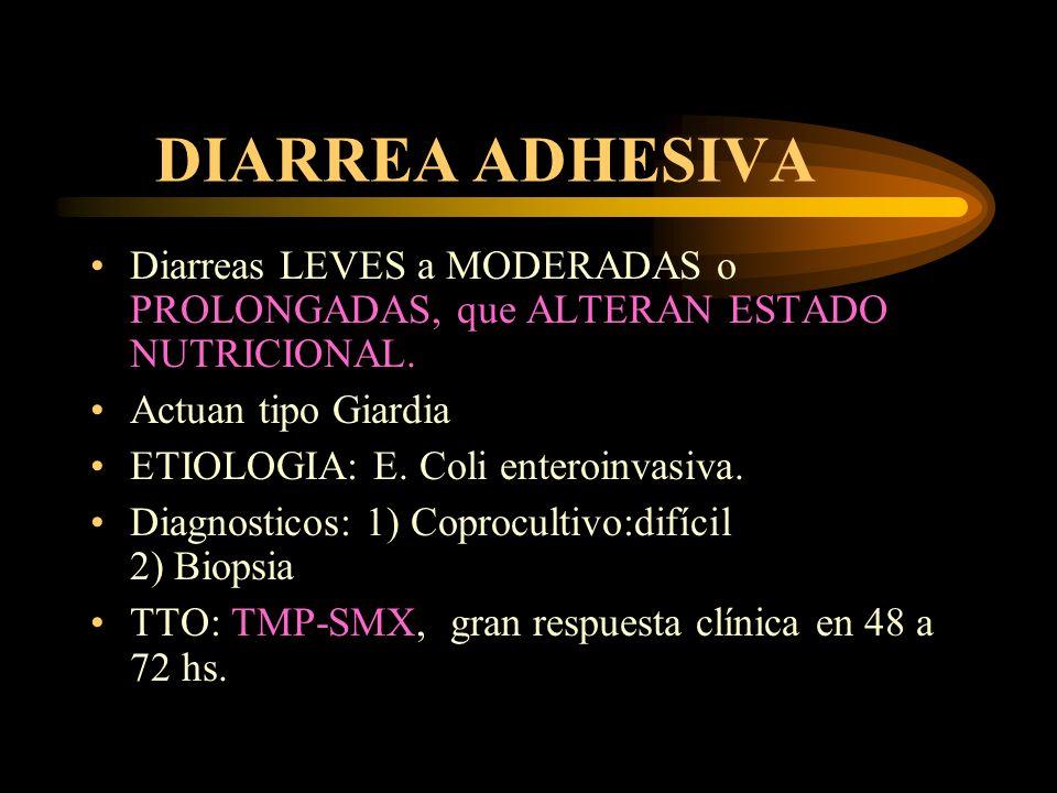 DIARREA ADHESIVA Diarreas LEVES a MODERADAS o PROLONGADAS, que ALTERAN ESTADO NUTRICIONAL. Actuan tipo Giardia.