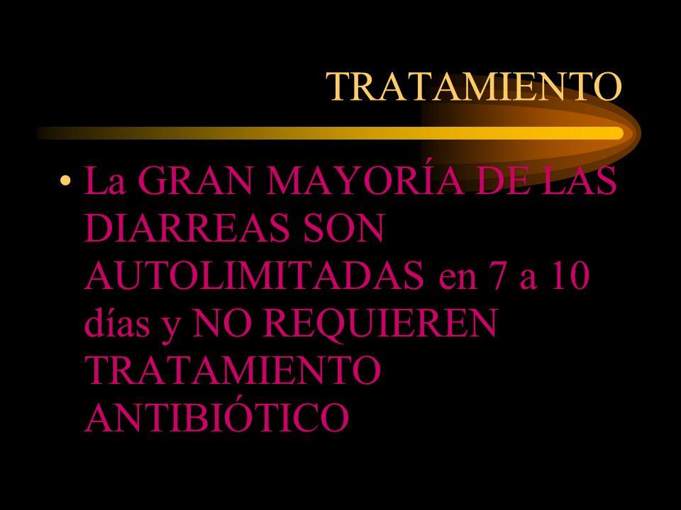 TRATAMIENTO La GRAN MAYORÍA DE LAS DIARREAS SON AUTOLIMITADAS en 7 a 10 días y NO REQUIEREN TRATAMIENTO ANTIBIÓTICO.