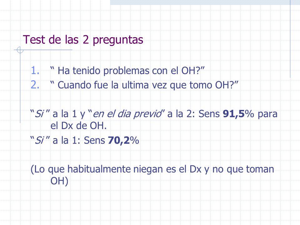 Test de las 2 preguntas Ha tenido problemas con el OH