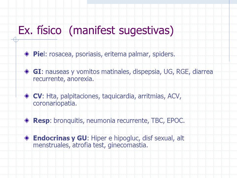Ex. físico (manifest sugestivas)