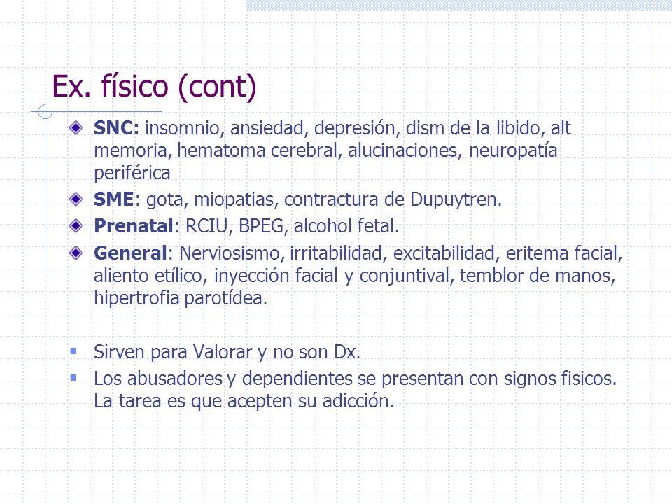 Ex. físico (cont) SNC: insomnio, ansiedad, depresión, dism de la libido, alt memoria, hematoma cerebral, alucinaciones, neuropatía periférica.