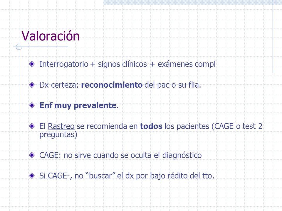 Valoración Interrogatorio + signos clínicos + exámenes compl