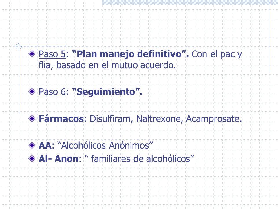 Paso 5: Plan manejo definitivo