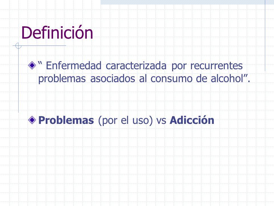 Definición Enfermedad caracterizada por recurrentes problemas asociados al consumo de alcohol .