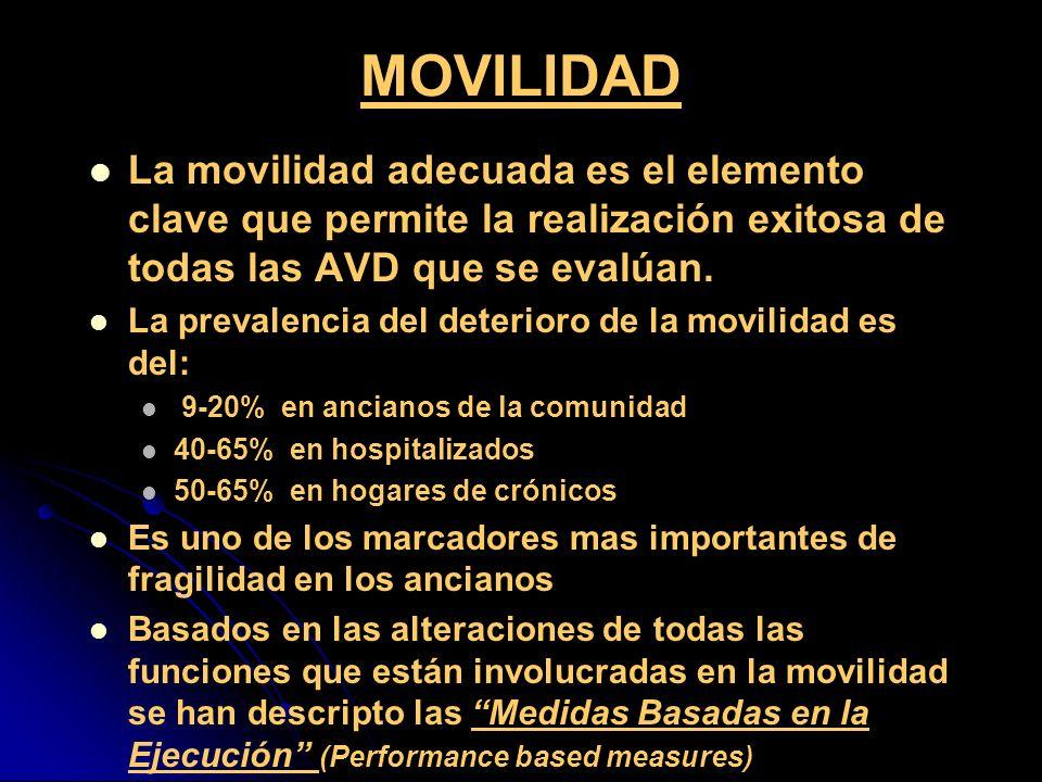 MOVILIDADLa movilidad adecuada es el elemento clave que permite la realización exitosa de todas las AVD que se evalúan.