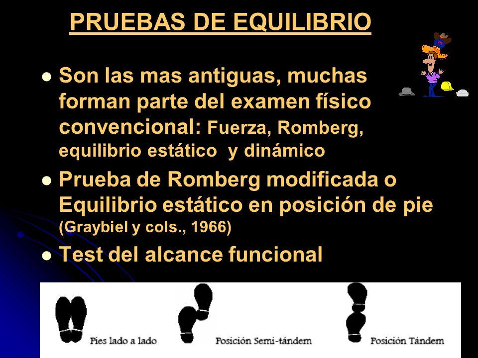 PRUEBAS DE EQUILIBRIOSon las mas antiguas, muchas forman parte del examen físico convencional: Fuerza, Romberg, equilibrio estático y dinámico.