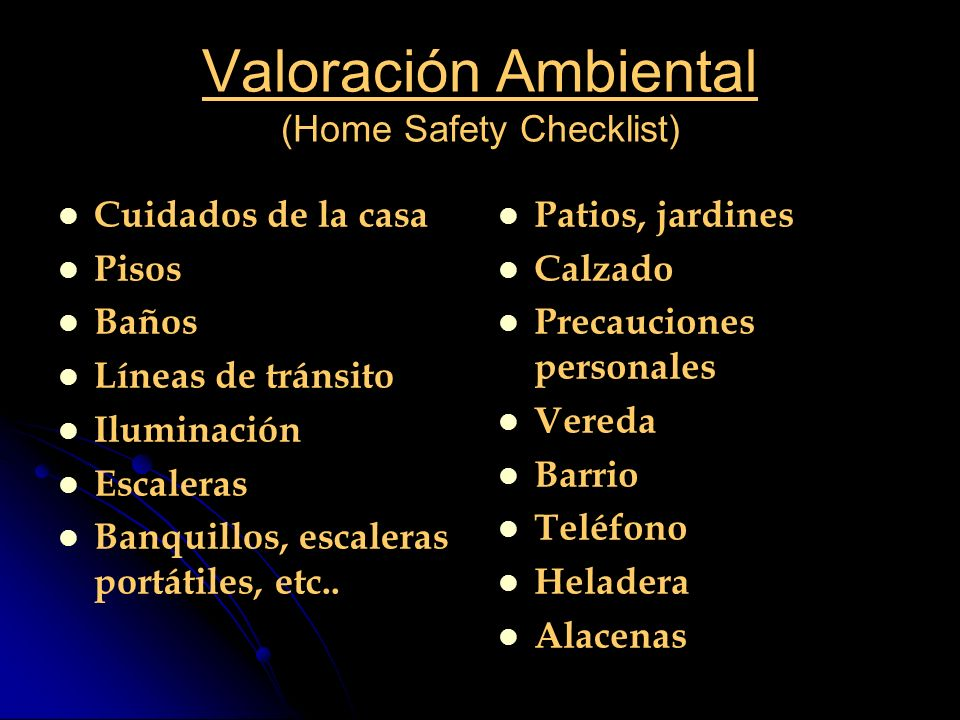 Valoración Ambiental (Home Safety Checklist)