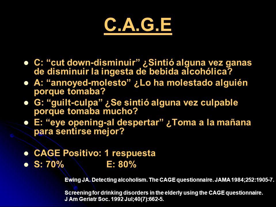 C.A.G.E C: cut down-disminuir ¿Sintió alguna vez ganas de disminuir la ingesta de bebida alcohólica