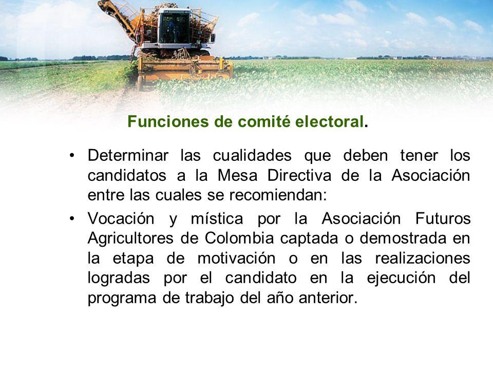 Funciones de comité electoral.