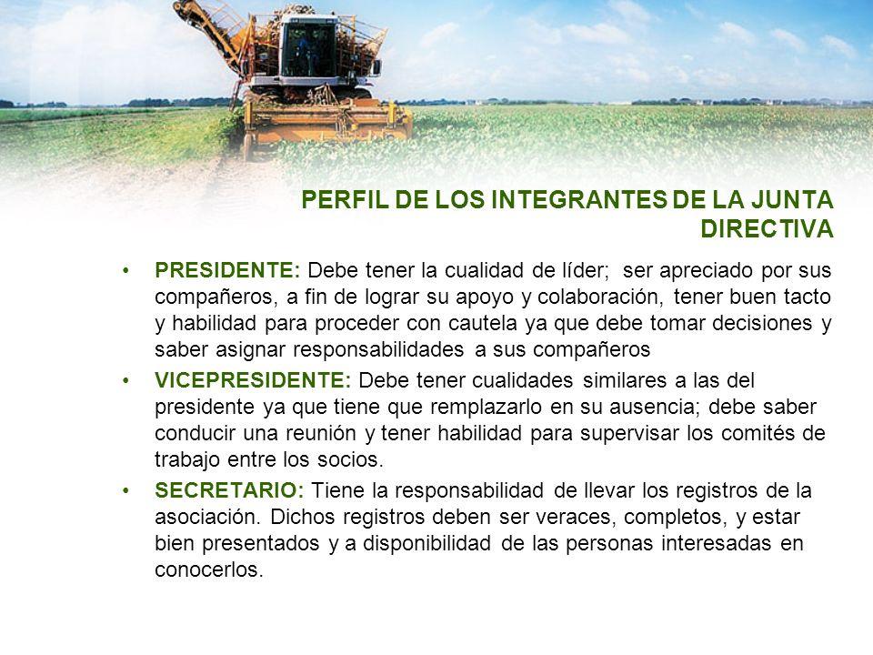 PERFIL DE LOS INTEGRANTES DE LA JUNTA DIRECTIVA