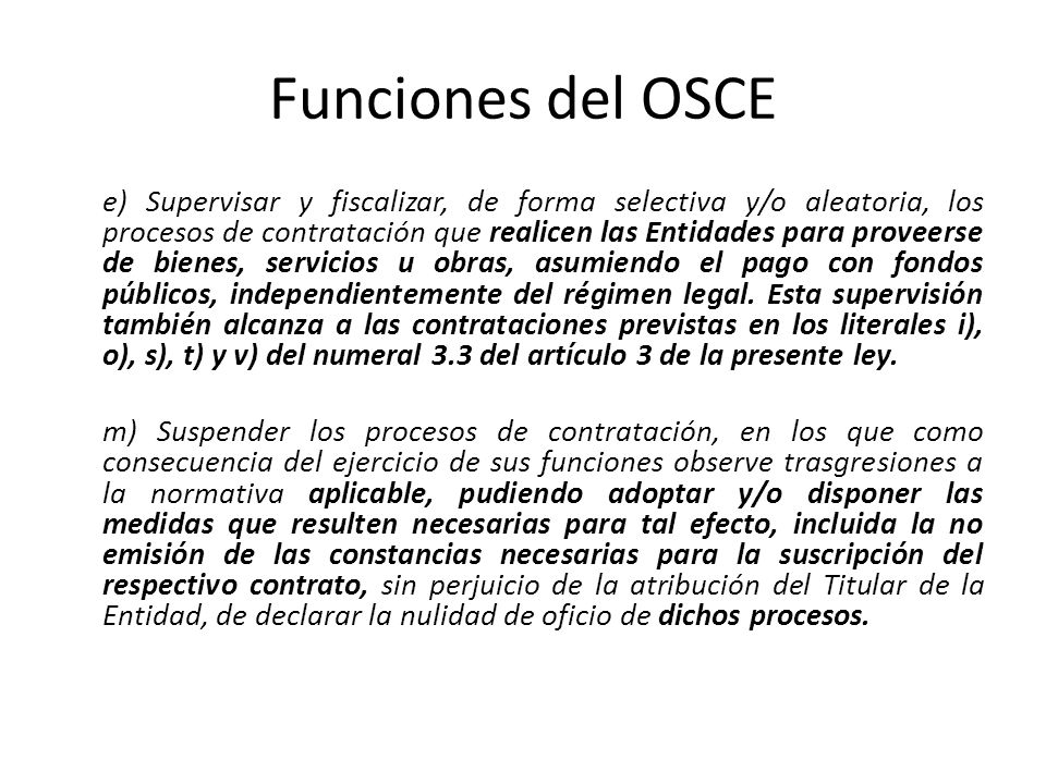 Funciones del OSCE